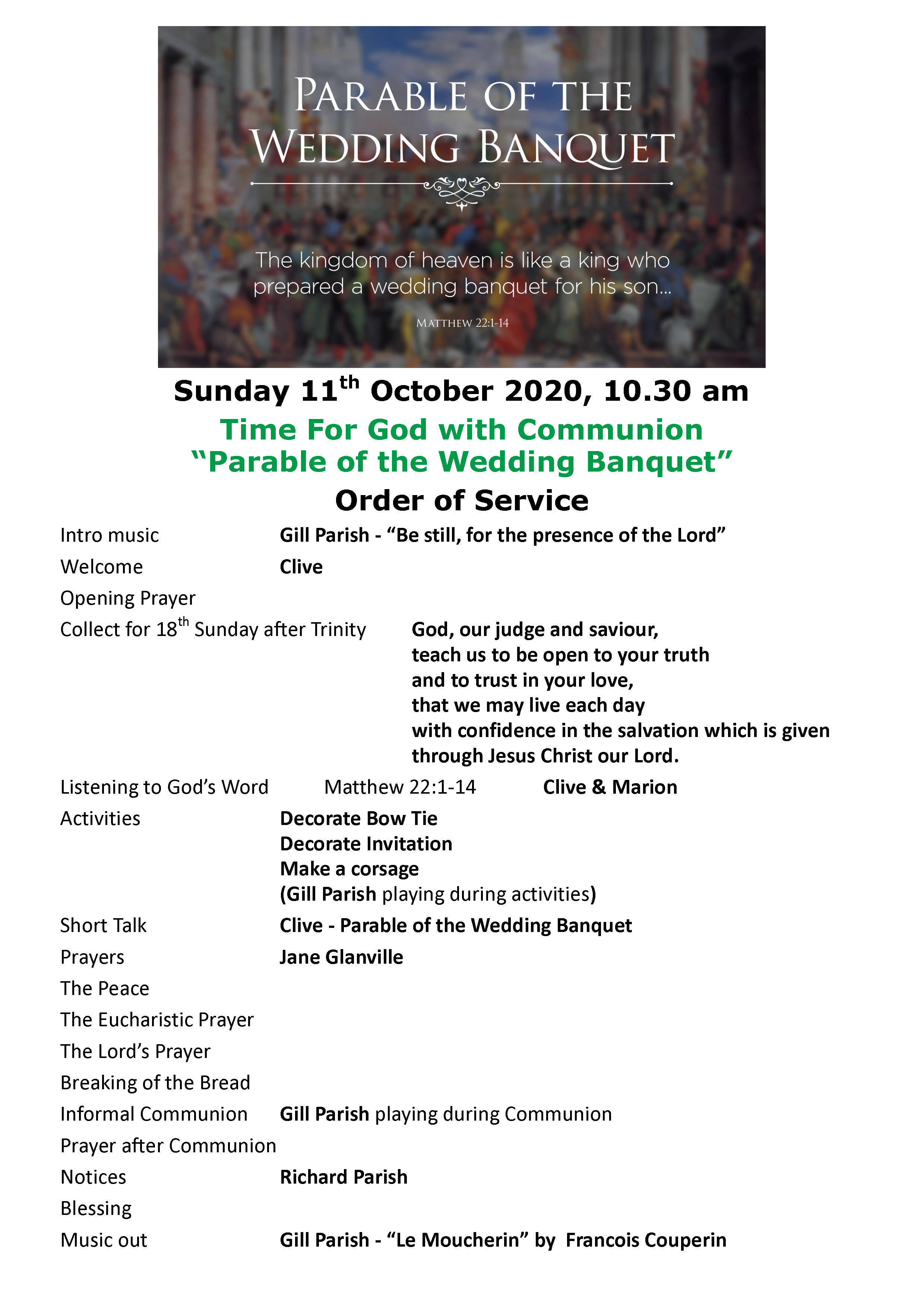 Order of Service 11th October 2020