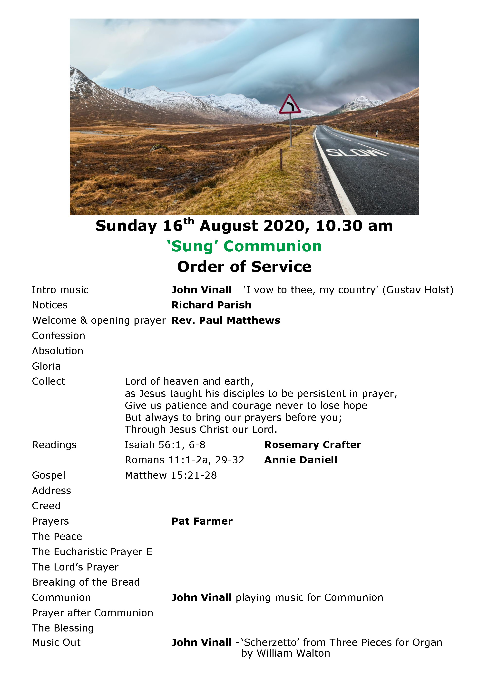 Order of Service 16th August 2020