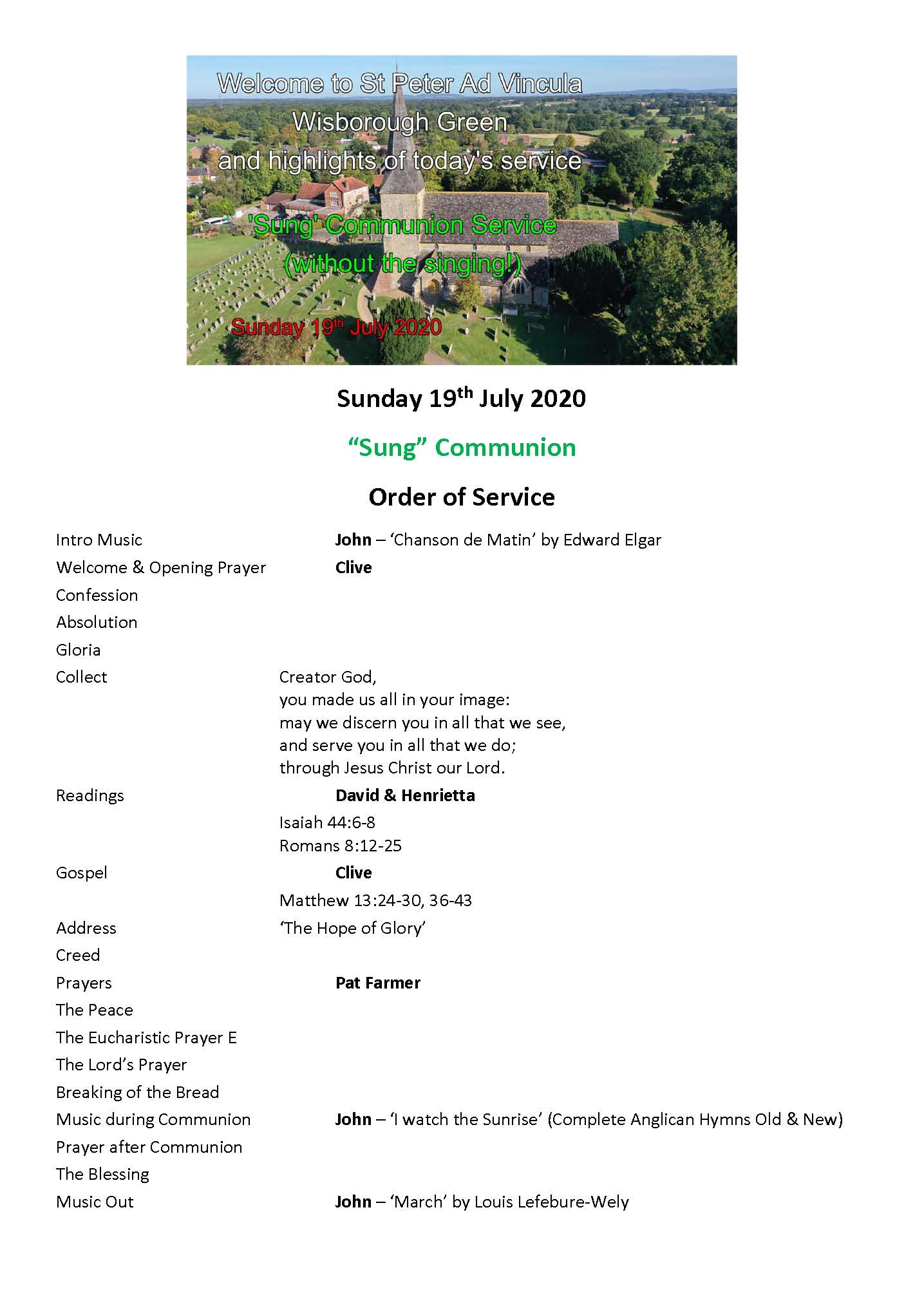 Order of Service 190720