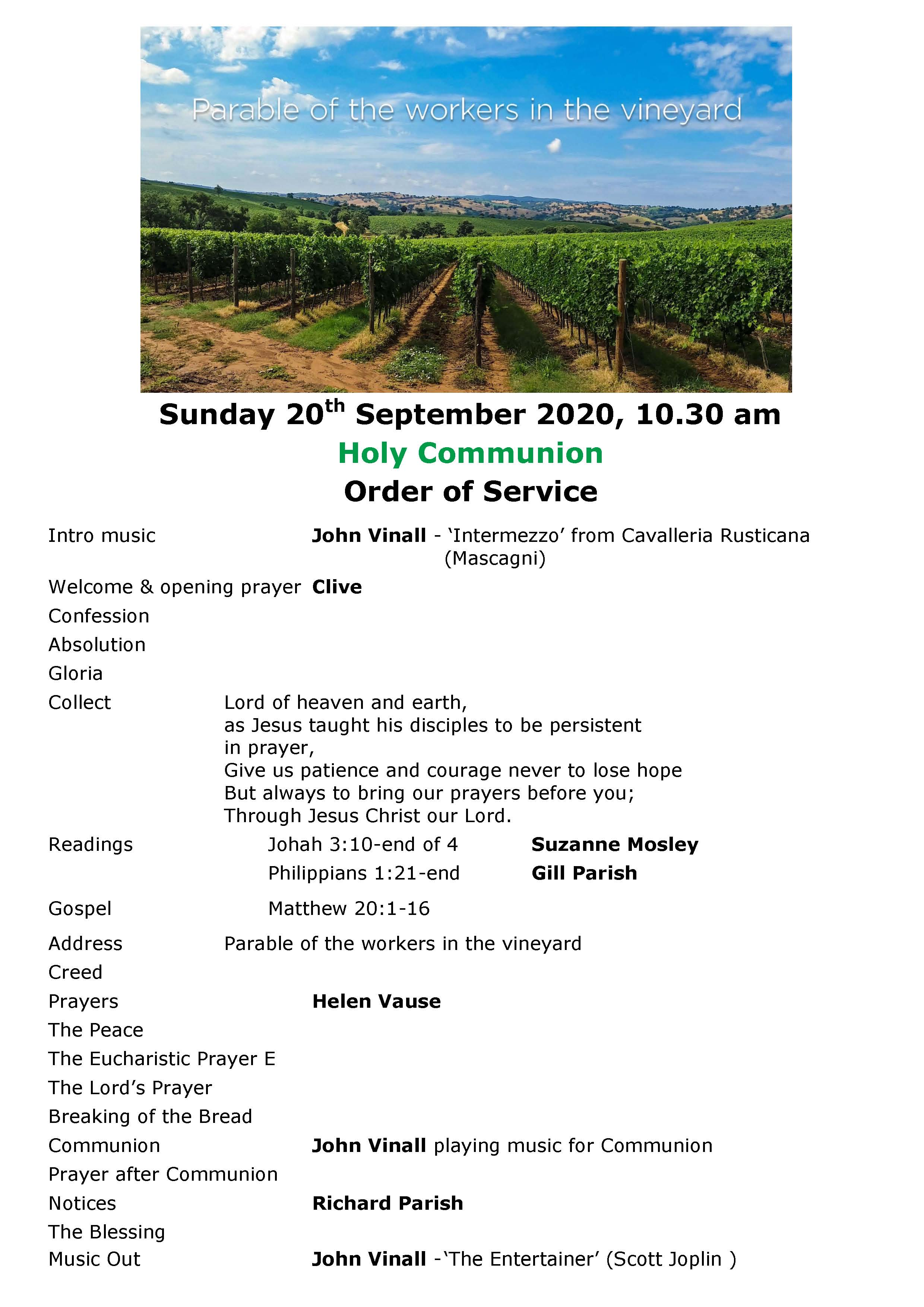 Order of Service 20th September 2020