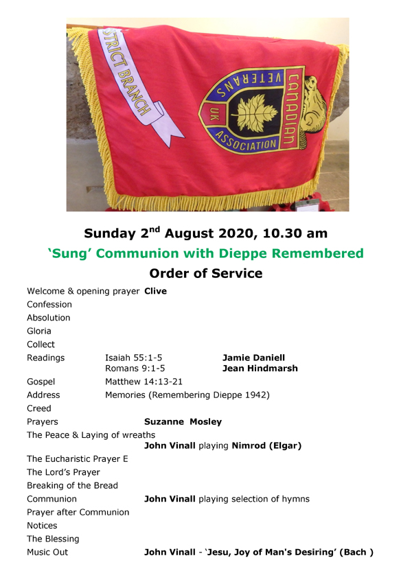 Order of Service 2nd August 2020 Rev